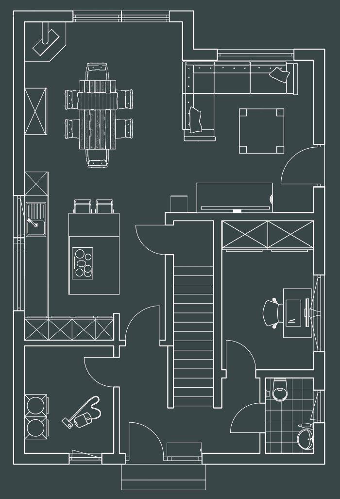 165 qm Glück – Viel Platz für Alle: Ein großer Raum im Erdgeschoss für Kochen. (Foto: FingerHaus)