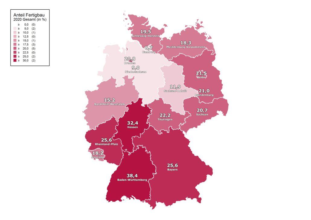 Fertigbauanteil 2020 nach Bundesländern. (Grafik: BDF)